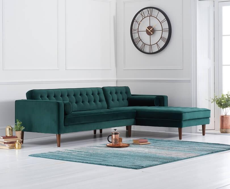 Изумрудный угловой диван