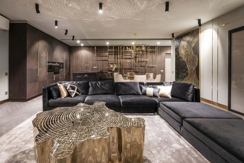 Черный угловой диван