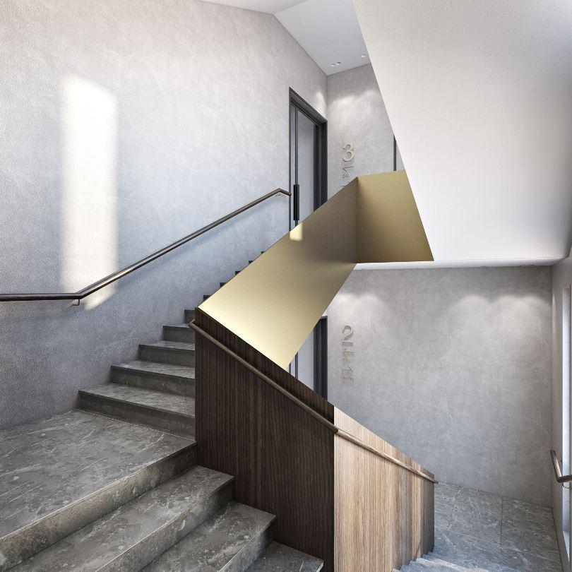 Лестница с сплошными перилами