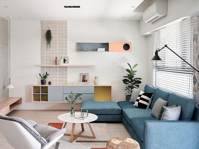 Синий угловой диван