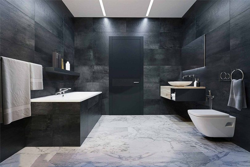Темно-серые стены в ванной