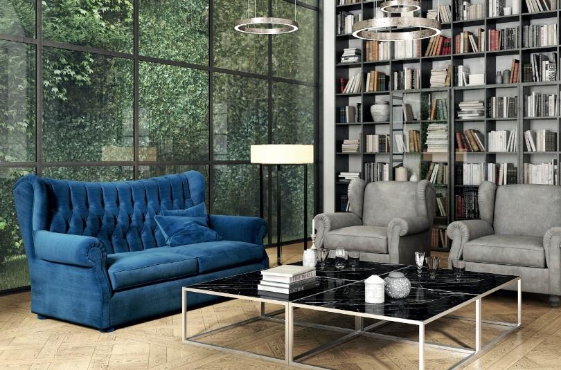 Синий диван и стеллаж